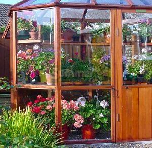 Painted cedar alton octagonal 8x8 greenhouse for Octagonal greenhouse plans